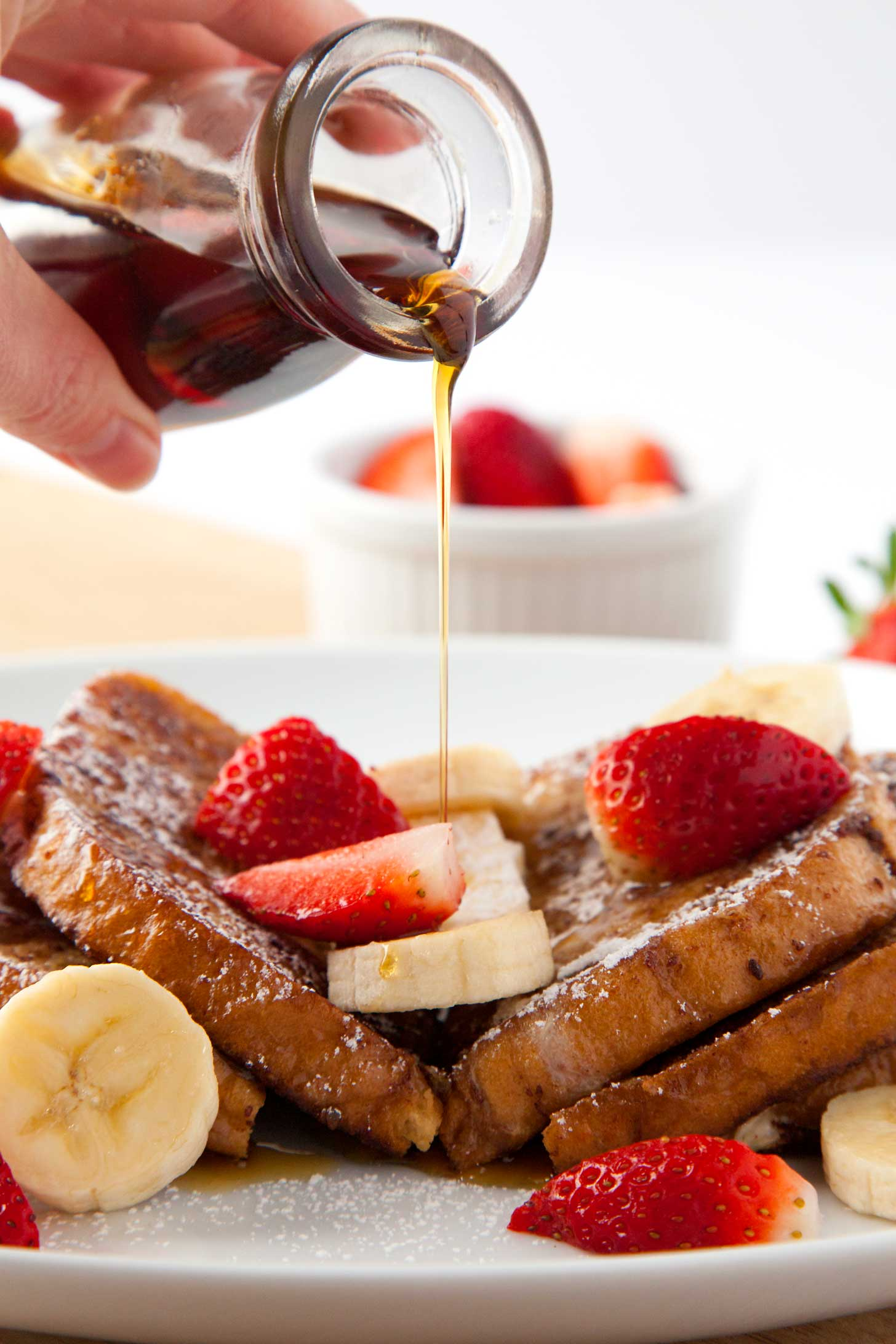Serving up Saturday morning french toast with all the toppings.