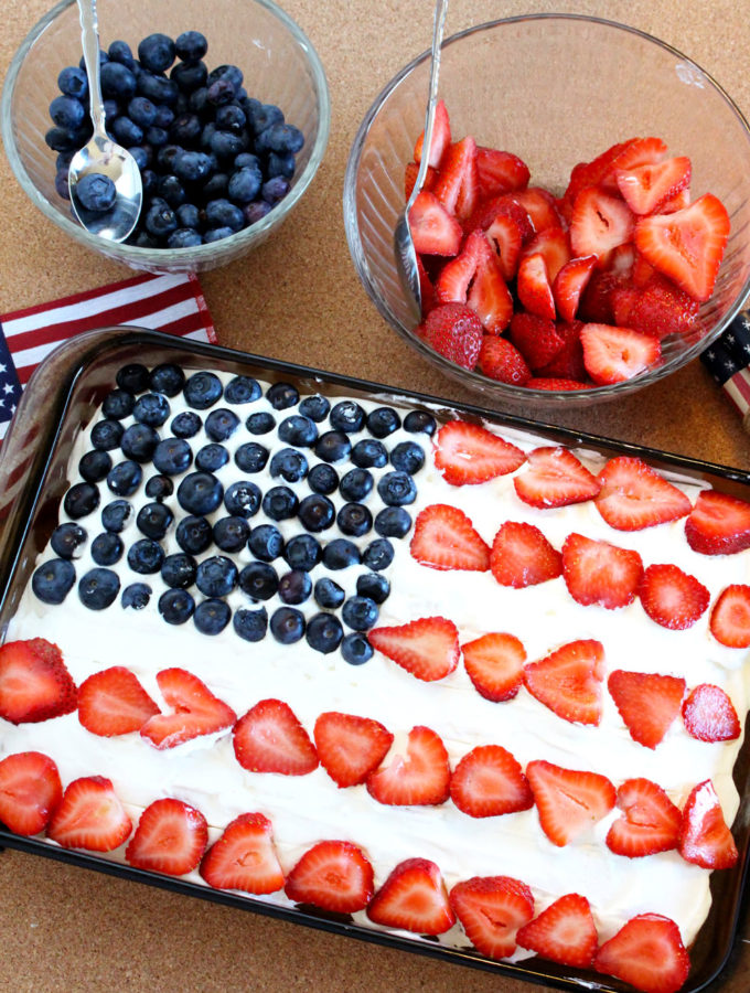 Fourth of July Old Glory Red White & Blue Cake