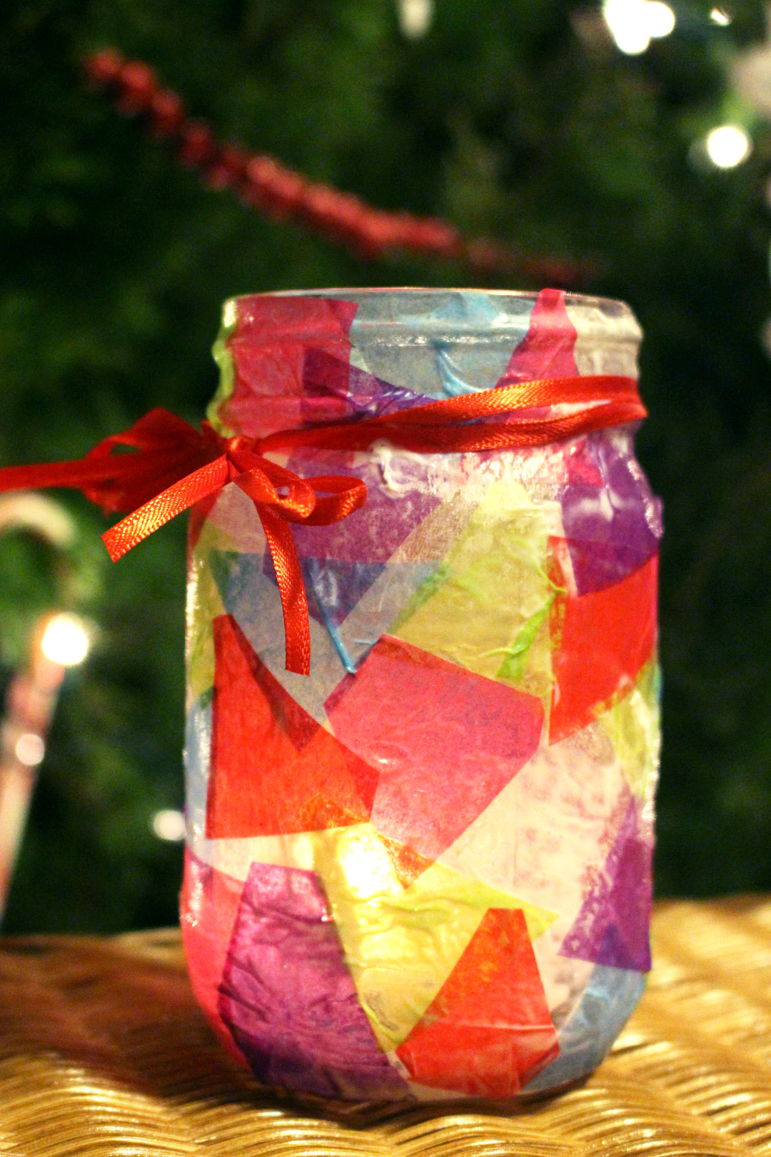 Simple Decoupaged Stained Glass Candle Holder , Welcome To