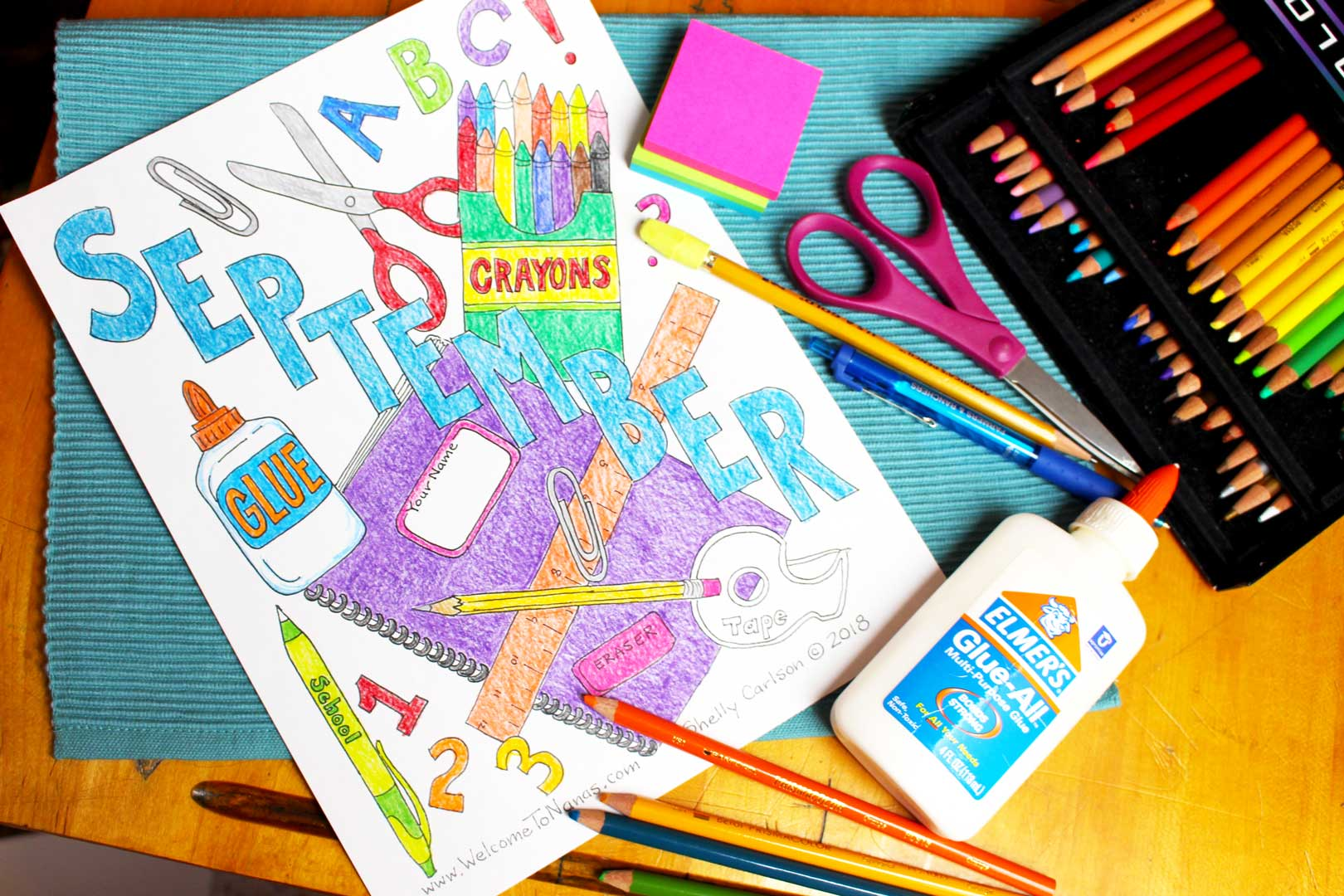 Back To School September Coloring Page